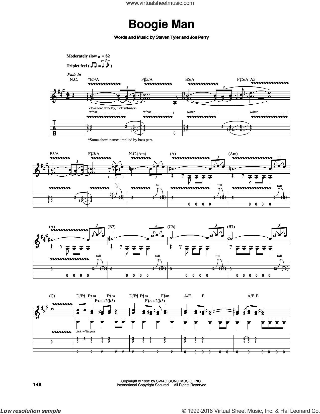 Boogie Man sheet music for guitar (tablature) by Steven Tyler, Aerosmith and Joe Perry. Score Image Preview.