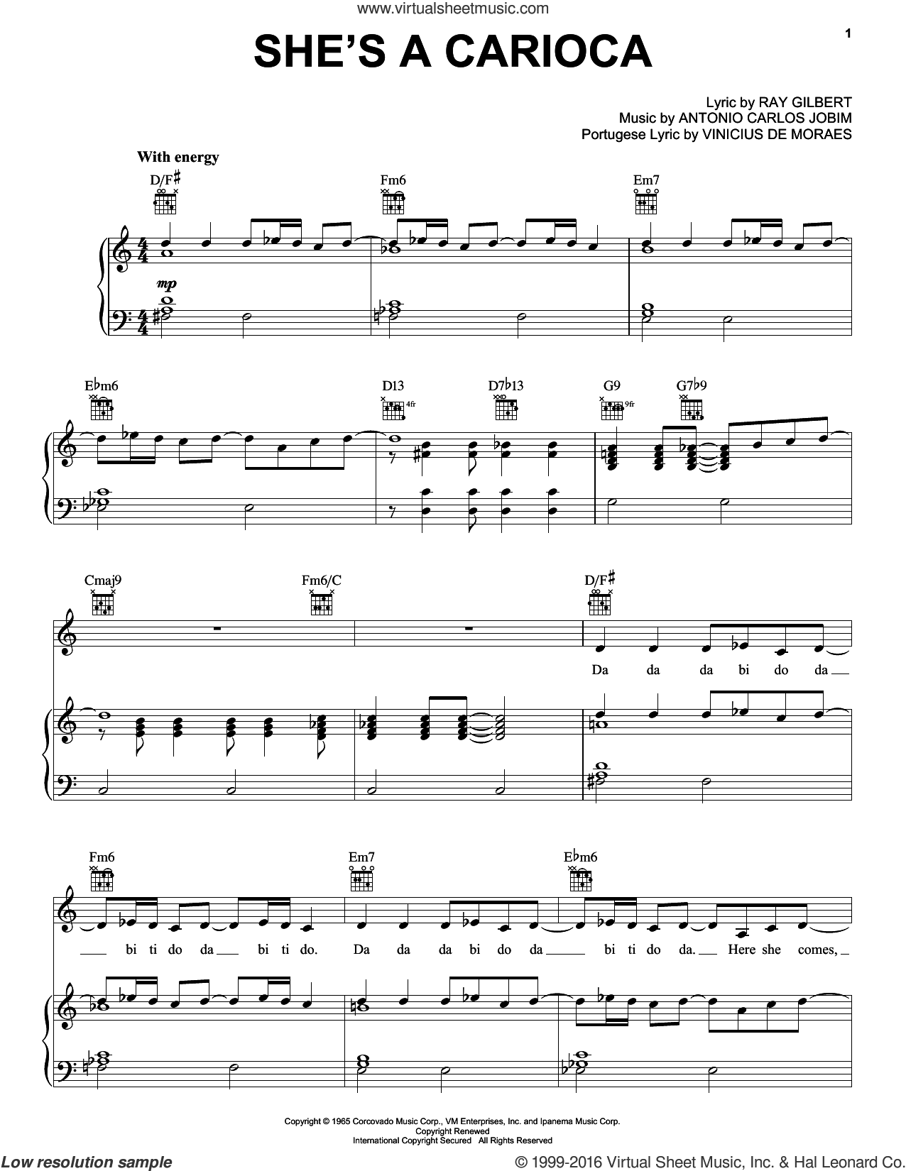 She's A Carioca sheet music for voice, piano or guitar by Antonio Carlos Jobim, Ray Gilbert and Vinicius de Moraes, intermediate skill level