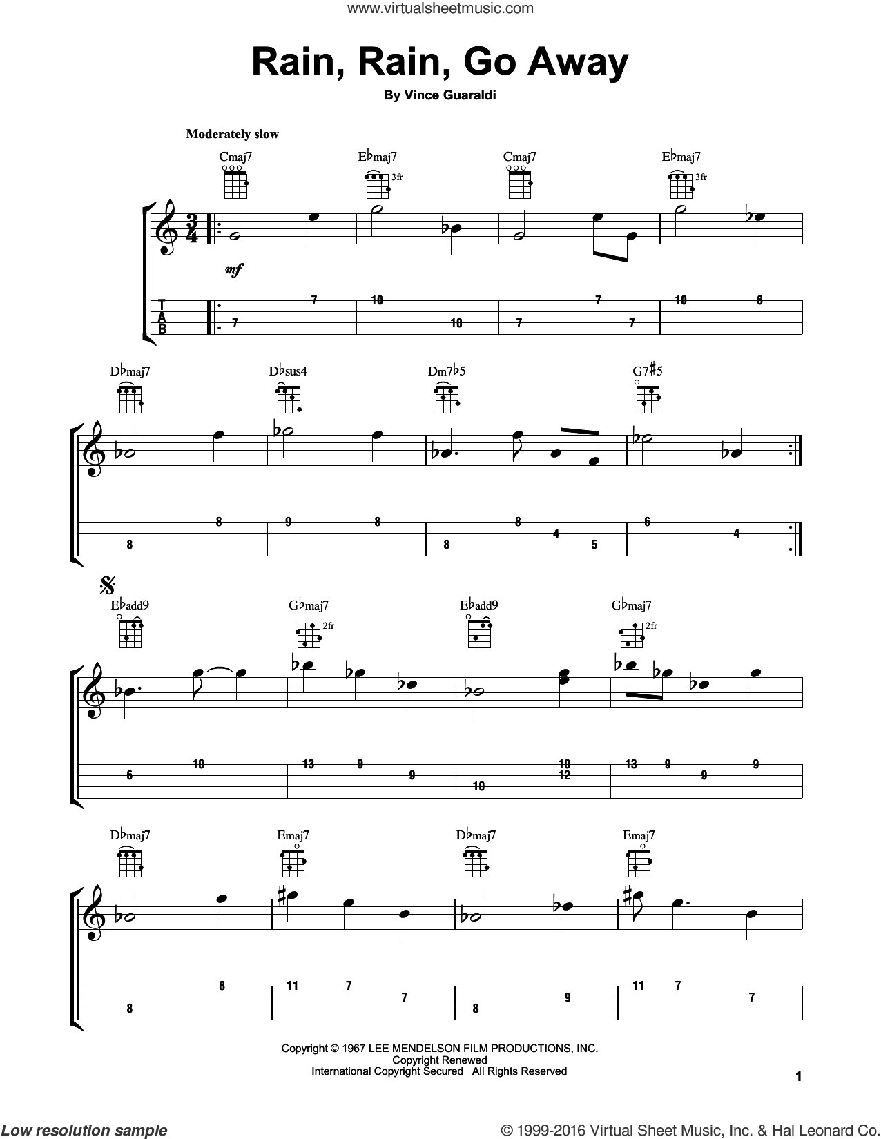 Rain, Rain, Go Away sheet music for ukulele by Vince Guaraldi, intermediate skill level