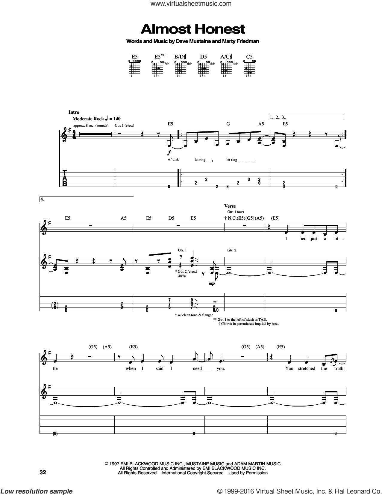 Almost Honest sheet music for guitar (tablature) by Marty Friedman, Megadeth and Dave Mustaine. Score Image Preview.