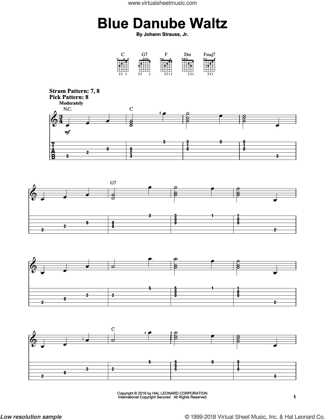 Blue Danube Waltz sheet music for guitar solo (easy tablature) by Johann Strauss, Jr., classical score, easy guitar (easy tablature)