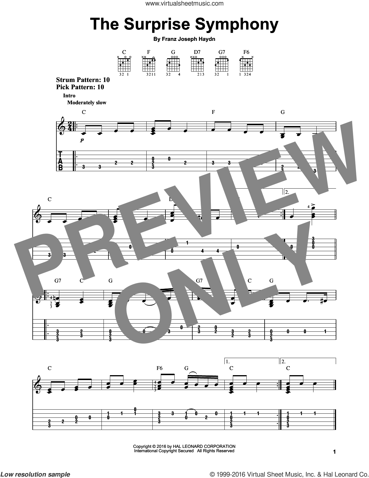 The Surprise Symphony sheet music for guitar solo (easy tablature) by Franz Joseph Haydn, classical score, easy guitar (easy tablature)
