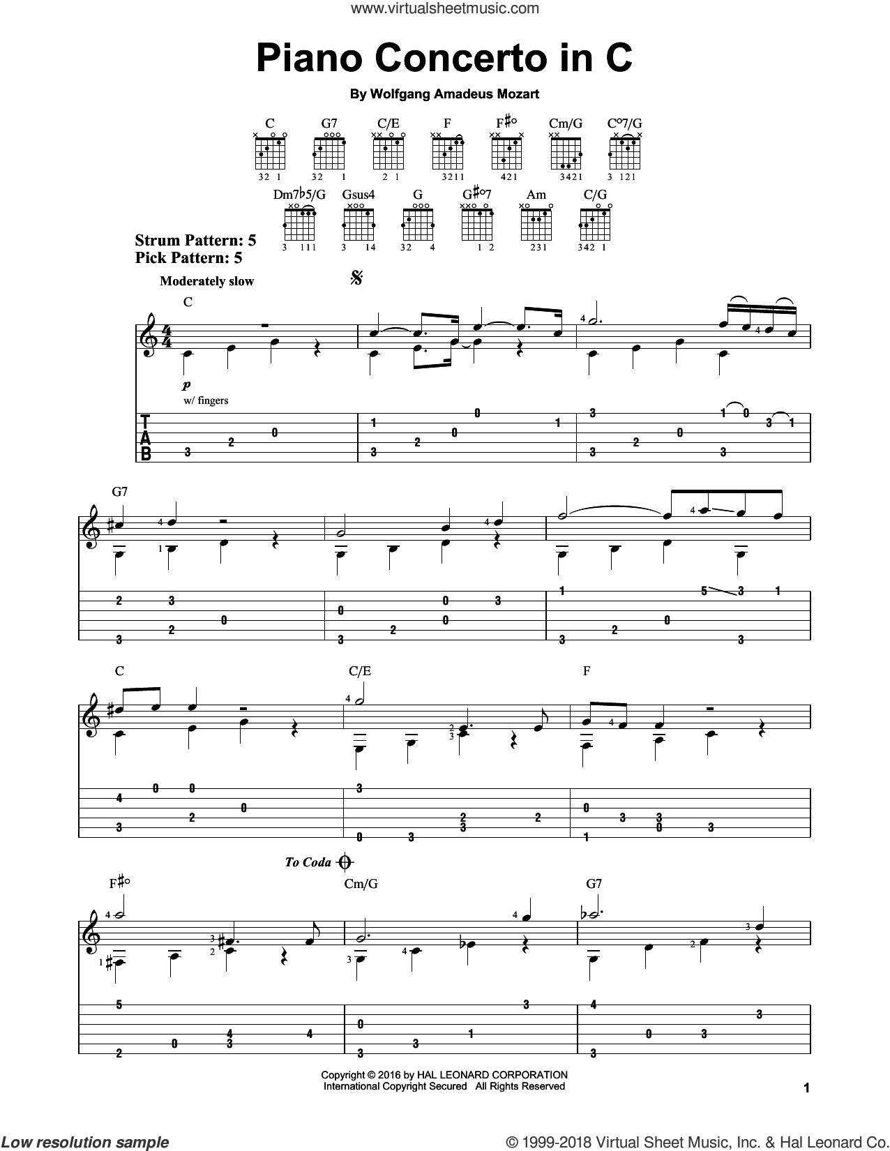 Piano Concerto In C sheet music for guitar solo (easy tablature) by Wolfgang Amadeus Mozart, classical score, easy guitar (easy tablature)