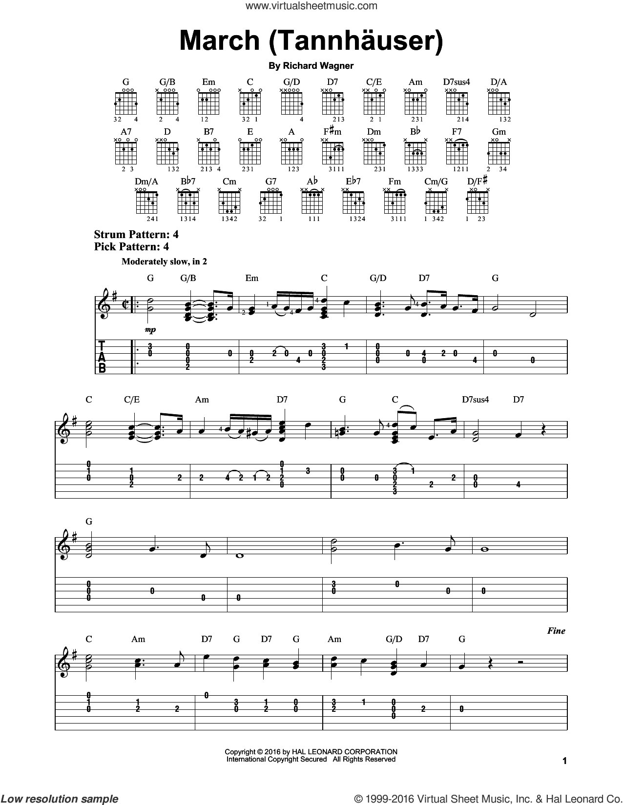 March (Tannhauser) sheet music for guitar solo (easy tablature) by Richard Wagner, classical score, easy guitar (easy tablature)