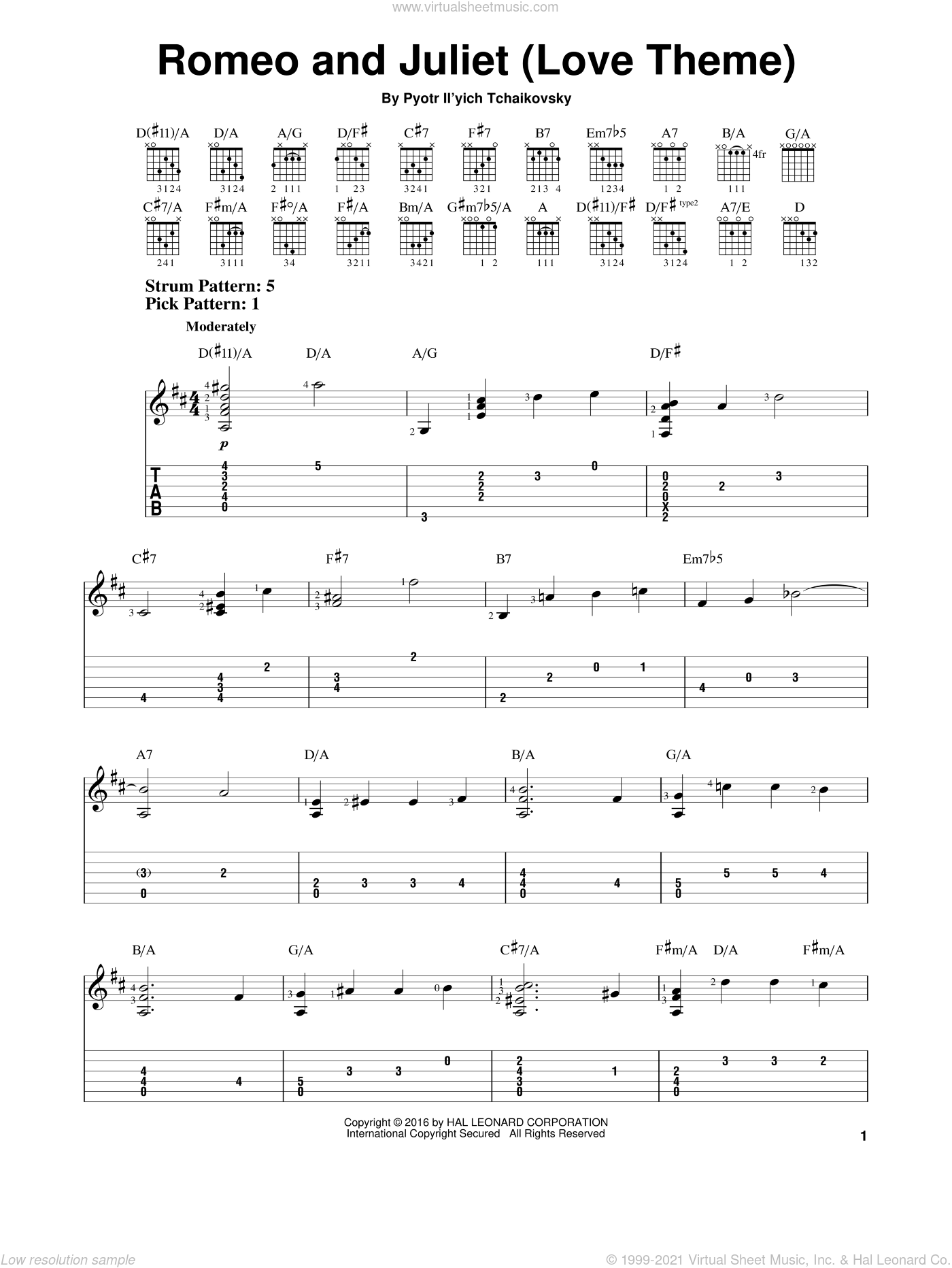 Romeo And Juliet (Love Theme) sheet music for guitar solo (easy tablature) by Pyotr Ilyich Tchaikovsky, classical score, easy guitar (easy tablature). Score Image Preview.