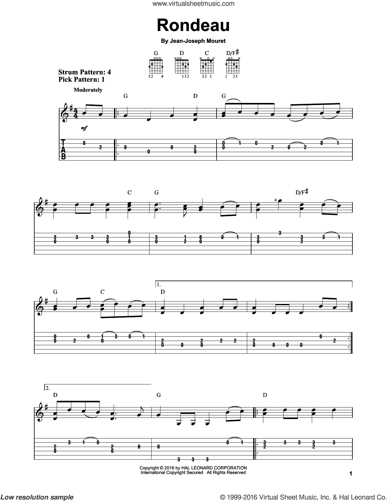 Rondeau sheet music for guitar solo (easy tablature) by Jean-Joseph Mouret, classical score, easy guitar (easy tablature)