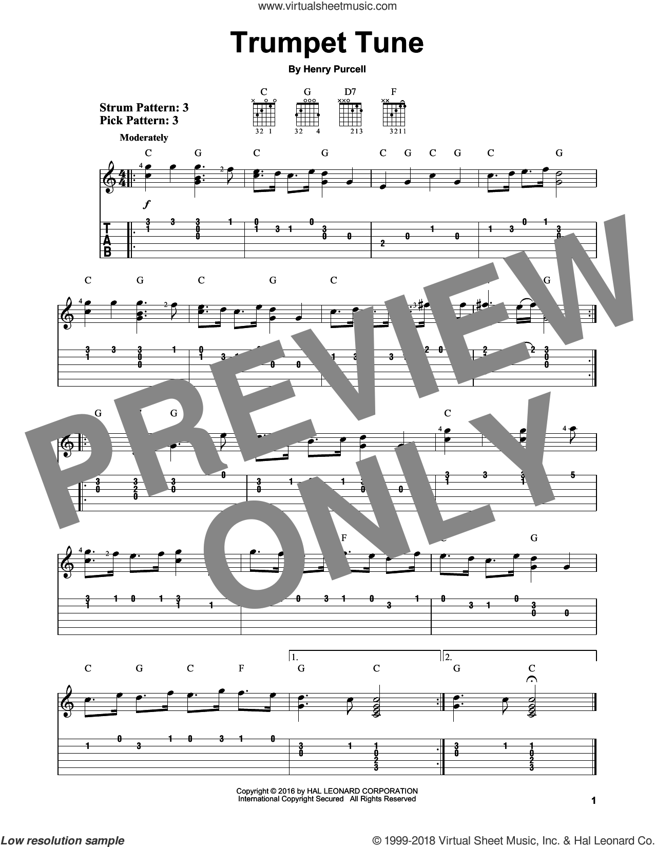 Trumpet Tune sheet music for guitar solo (easy tablature) by Henry Purcell, classical score, easy guitar (easy tablature)