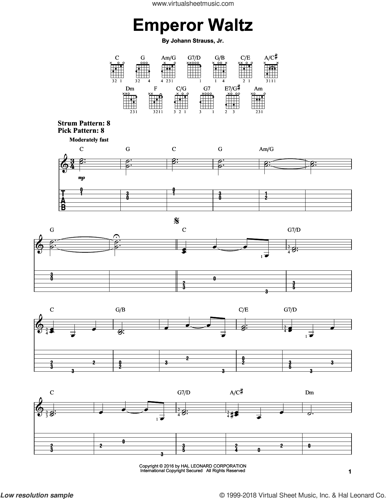 Emperor Waltz sheet music for guitar solo (easy tablature) by Johann Strauss, Jr., classical score, easy guitar (easy tablature)