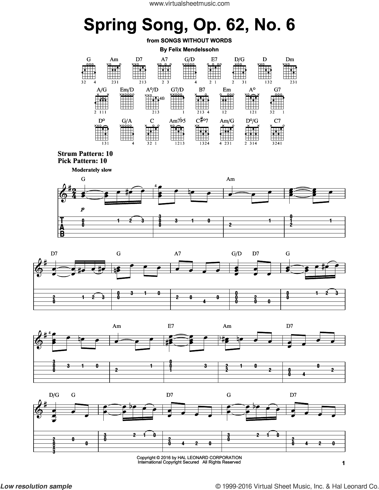 Spring Song, Op. 62, No. 6 sheet music for guitar solo (easy tablature) by Felix Mendelssohn-Bartholdy, classical score, easy guitar (easy tablature)