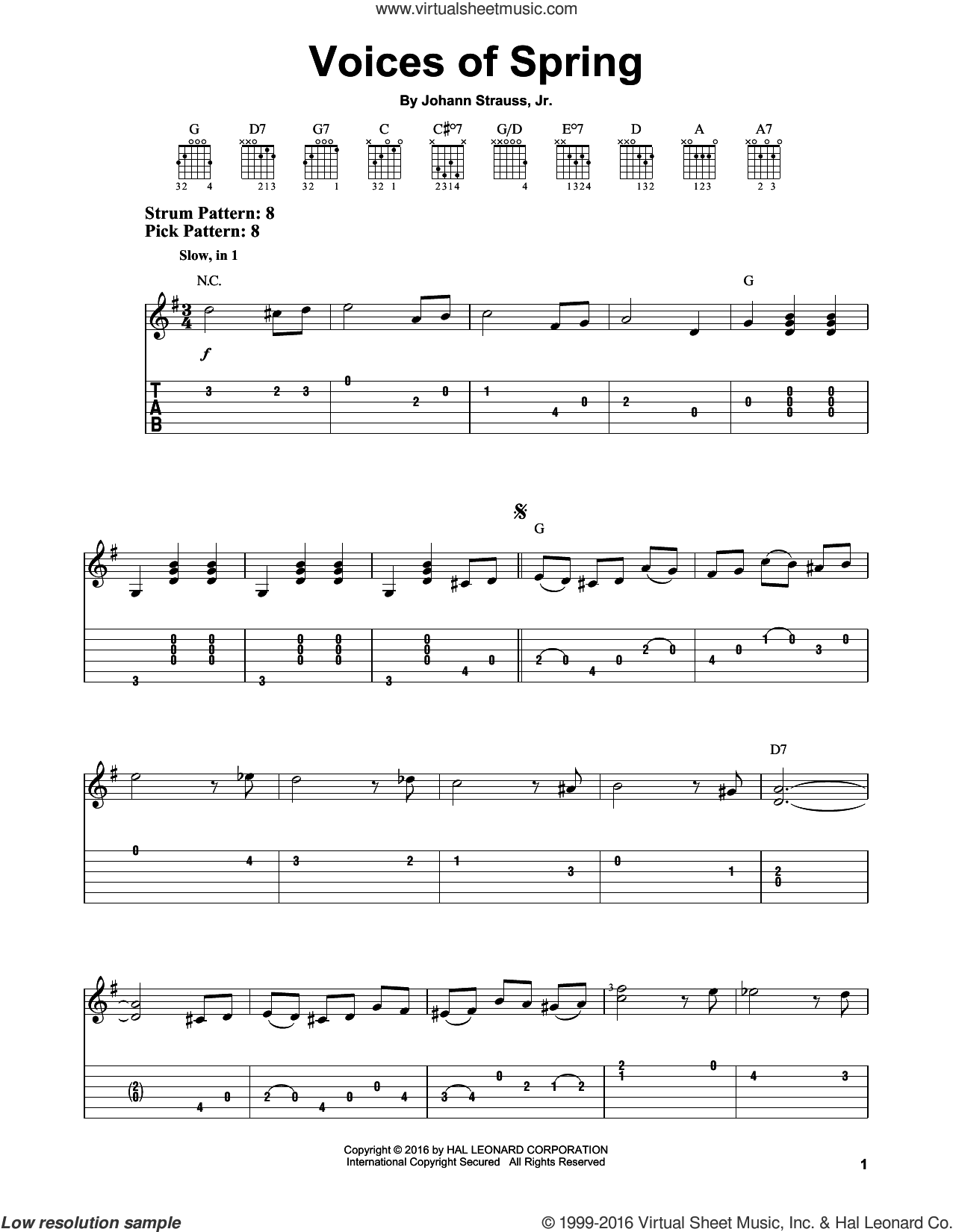 Voices Of Spring sheet music for guitar solo (easy tablature) by Johann Strauss, Jr., classical score, easy guitar (easy tablature). Score Image Preview.