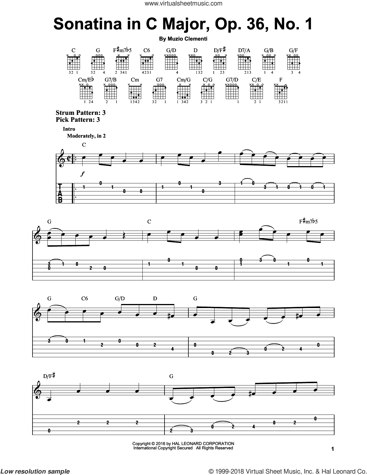 Sonatina In C Major, Op. 36, No. 1 sheet music for guitar solo (easy tablature) by Muzio Clementi, classical score, easy guitar (easy tablature)