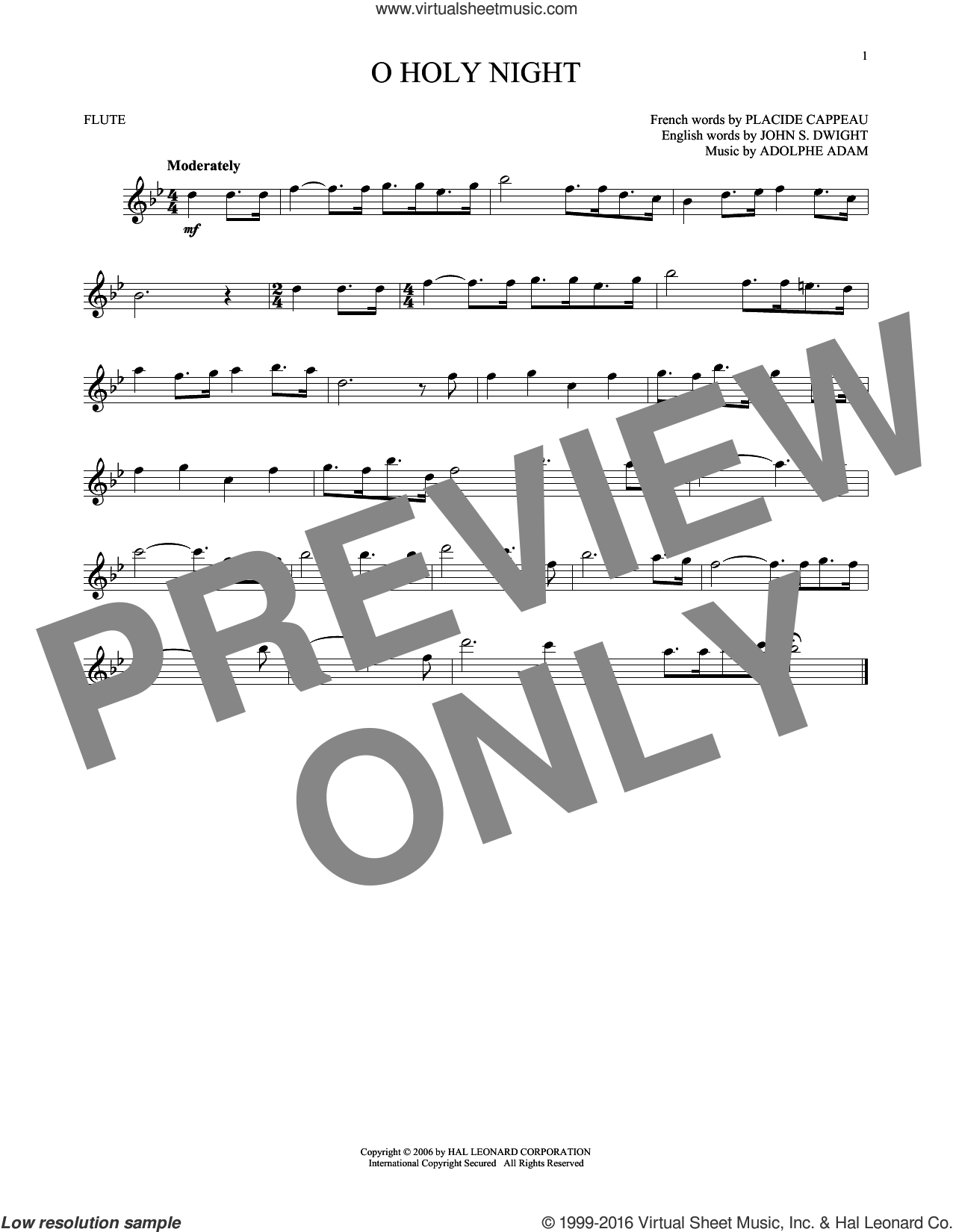 O Holy Night sheet music for flute solo by Adolphe Adam, intermediate. Score Image Preview.