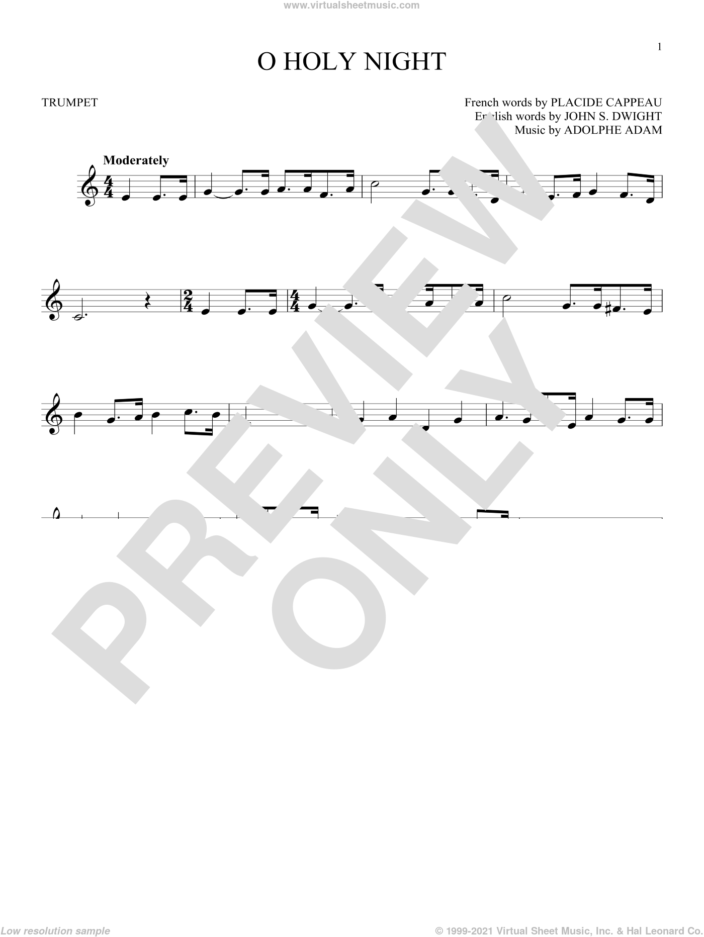 O Holy Night sheet music for trumpet solo by Adolphe Adam, John S. Dwight (trans.) and Placide Cappeau  (French), intermediate. Score Image Preview.
