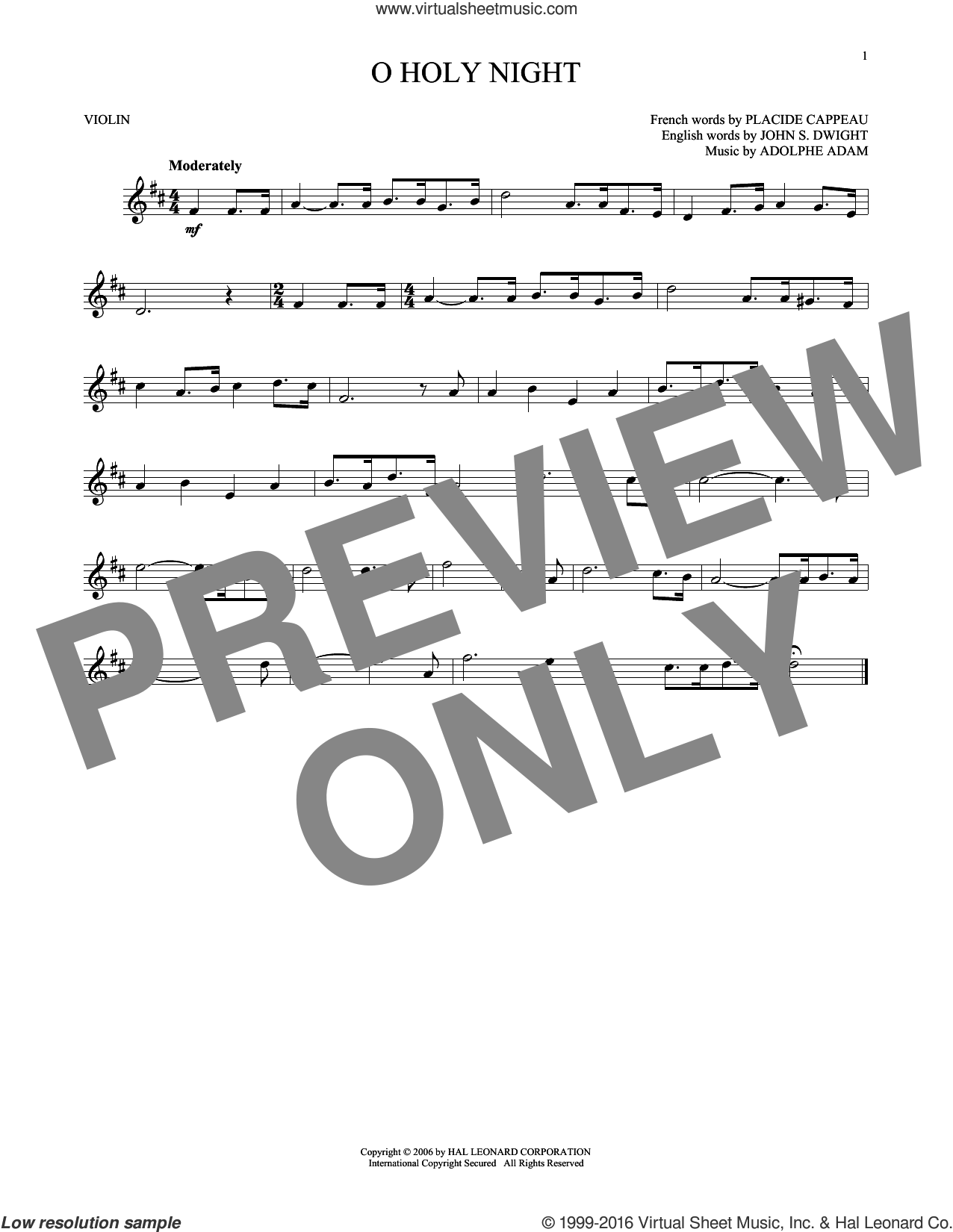 O Holy Night sheet music for violin solo by Adolphe Adam. Score Image Preview.
