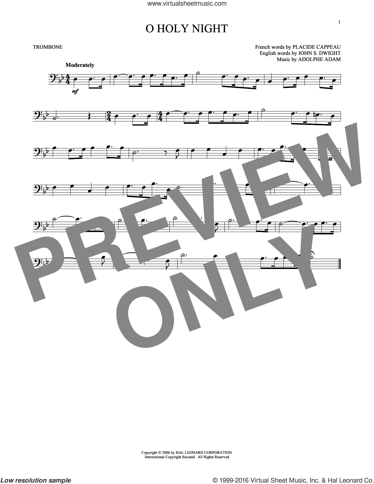 O Holy Night sheet music for trombone solo by Adolphe Adam, Christmas carol score, intermediate trombone. Score Image Preview.