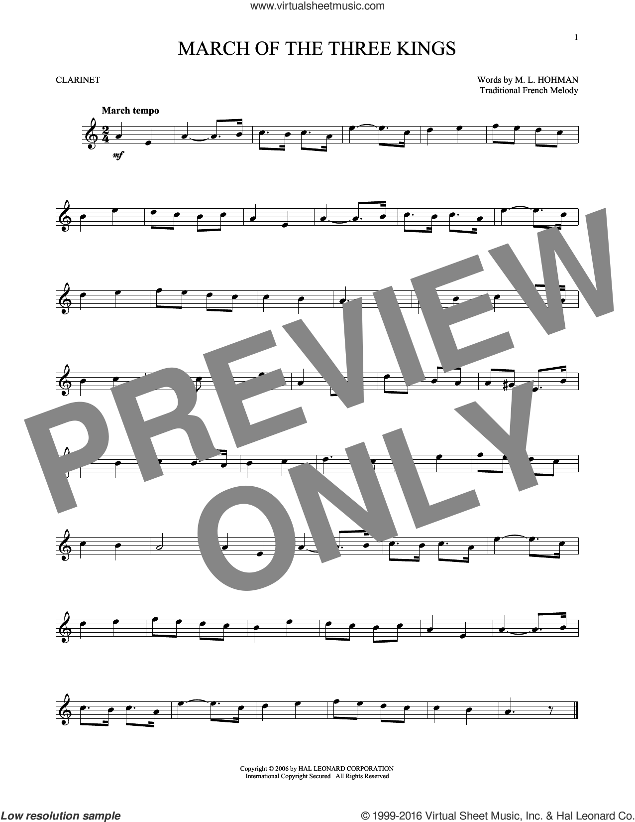 March Of The Three Kings sheet music for clarinet solo by M.L. Hohman and Miscellaneous. Score Image Preview.
