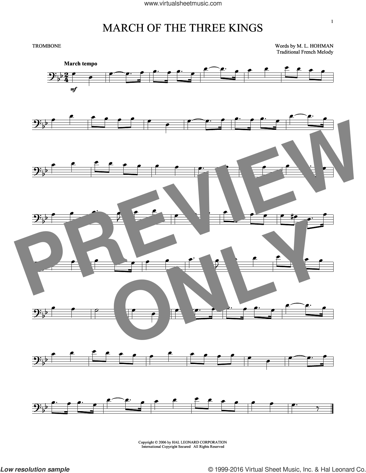 March Of The Three Kings sheet music for trombone solo by M.L. Hohman and Miscellaneous. Score Image Preview.