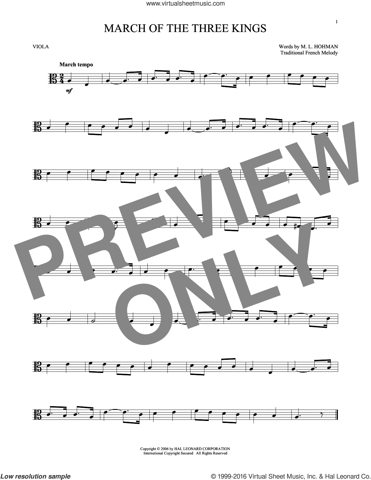 March Of The Three Kings sheet music for viola solo by M.L. Hohman and Miscellaneous. Score Image Preview.