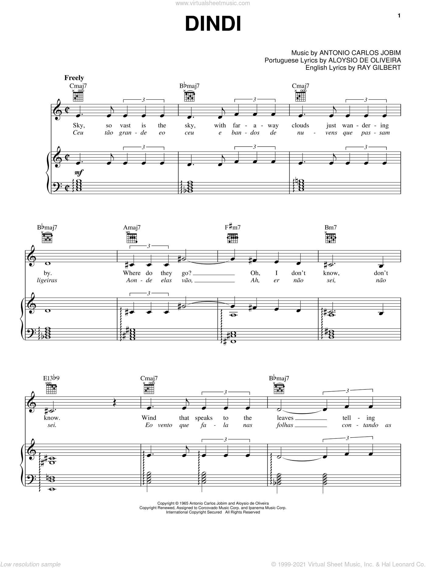 Dindi sheet music for voice, piano or guitar by Antonio Carlos Jobim, Frank Sinatra, Aloysio de Oliveira and Ray Gilbert, intermediate skill level