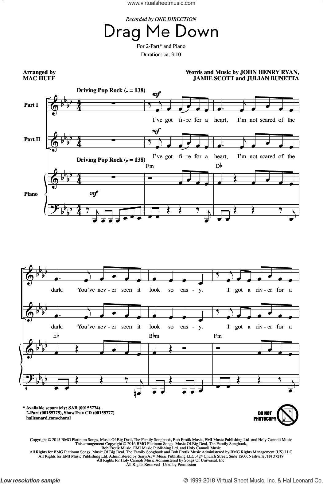 Drag Me Down sheet music for choir and piano (duets) by Mac Huff, One Direction, Jamie Scott and Julian Bunetta. Score Image Preview.