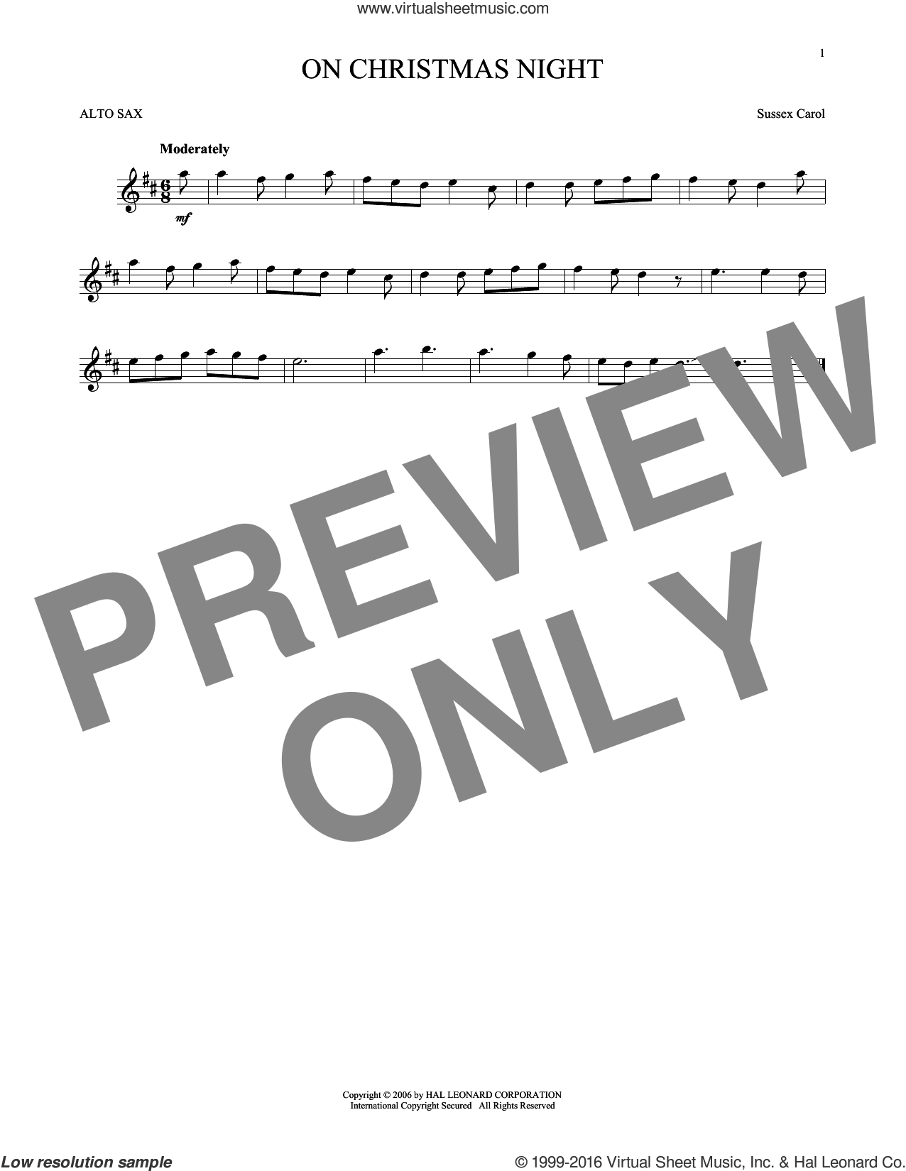 On Christmas Night sheet music for alto saxophone solo, intermediate skill level