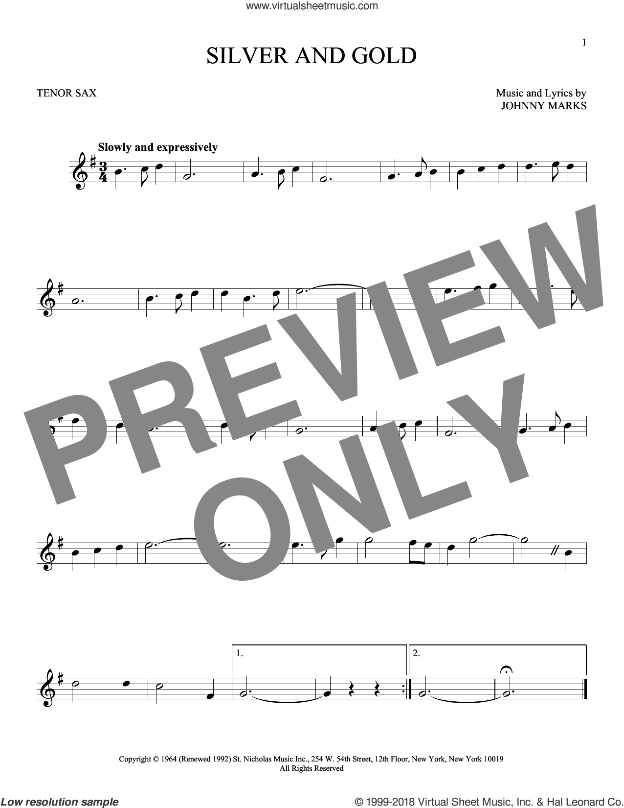 Silver And Gold sheet music for tenor saxophone solo by Johnny Marks, intermediate skill level
