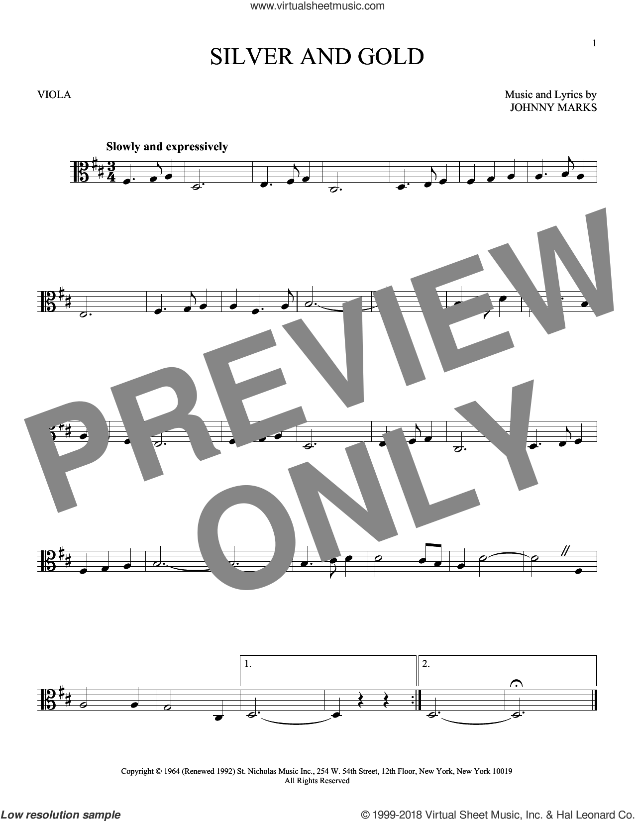 Silver And Gold sheet music for viola solo by Johnny Marks, intermediate skill level