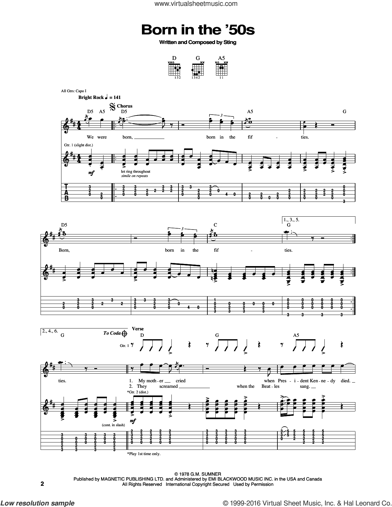 Born In The 50's sheet music for guitar (tablature) by The Police and Sting, intermediate