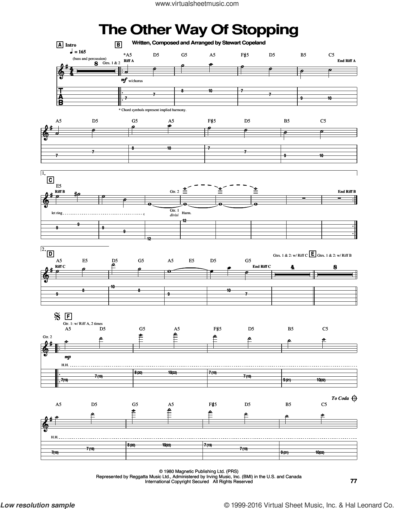 The Other Way Of Stopping sheet music for guitar (tablature) by The Police and Stewart Copeland, intermediate