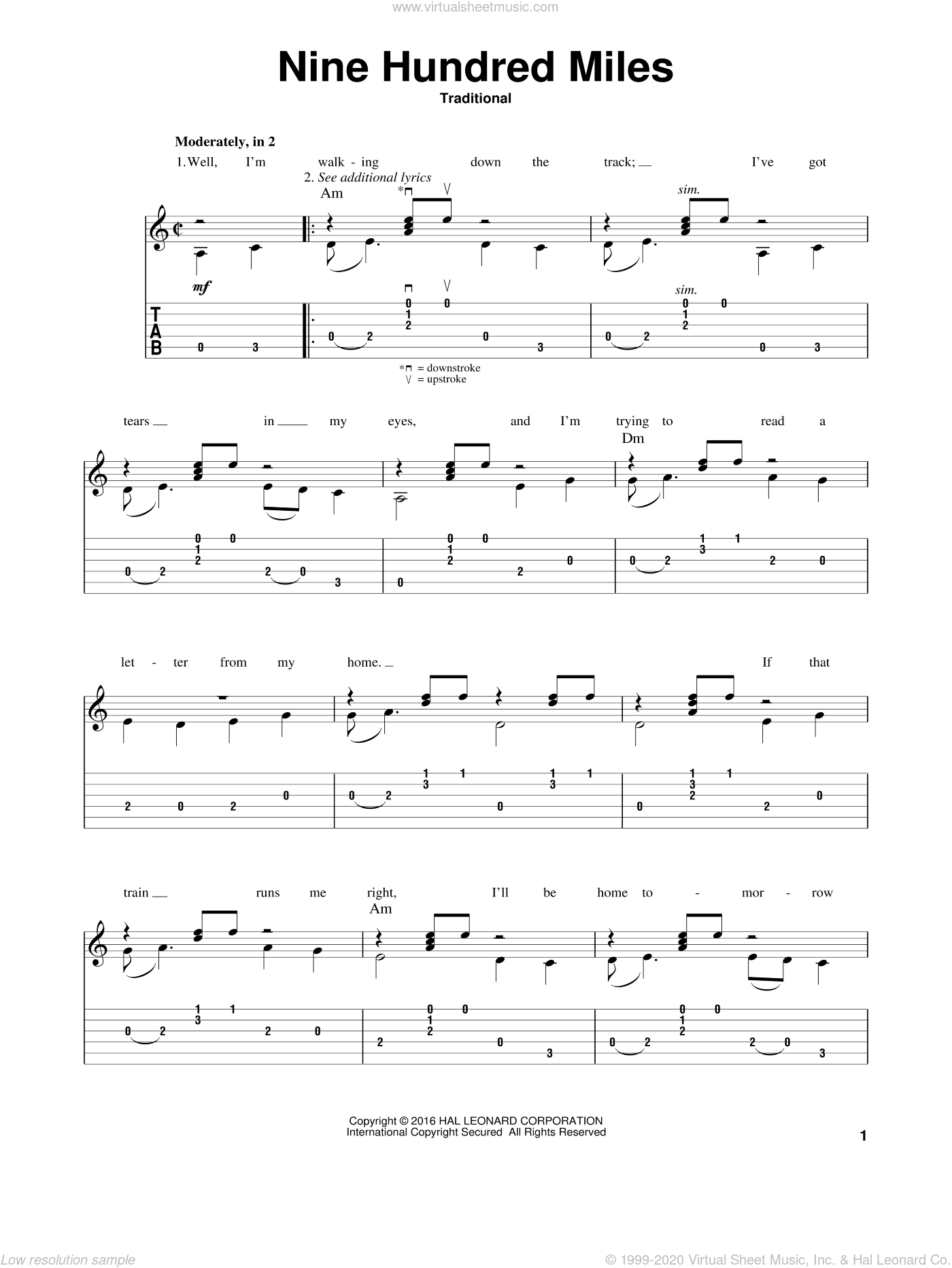 Nine Hundred Miles sheet music for guitar solo by Mark Phillips. Score Image Preview.