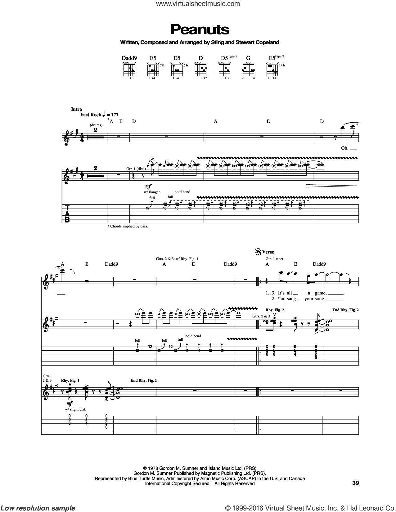 Peanuts sheet music for guitar (tablature) by Sting, The Police and Stewart Copeland. Score Image Preview.