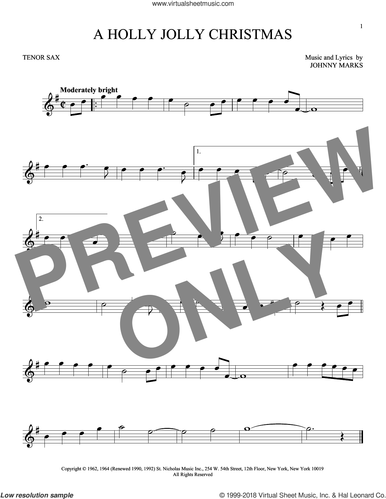 A Holly Jolly Christmas sheet music for tenor saxophone solo by Johnny Marks, intermediate skill level