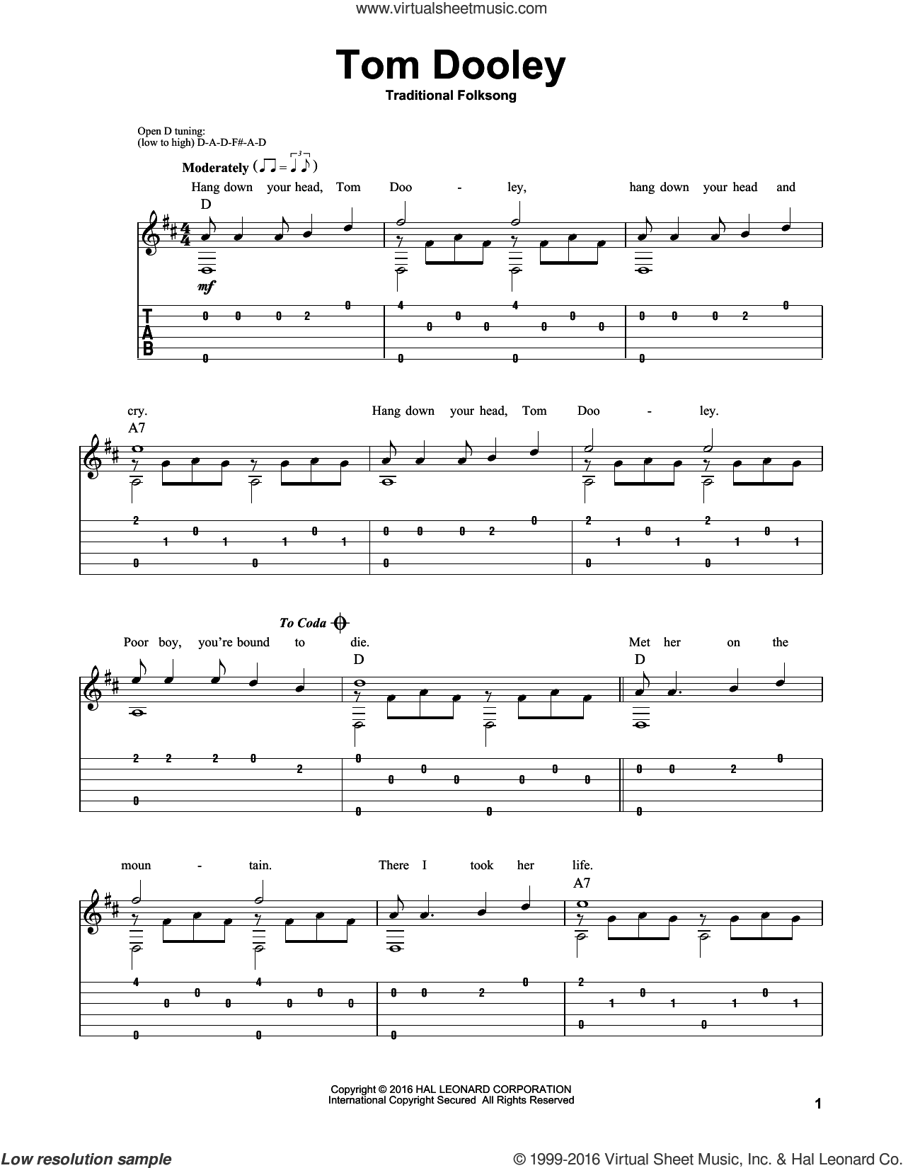 Tom Dooley sheet music for guitar solo by Mark Phillips, intermediate skill level