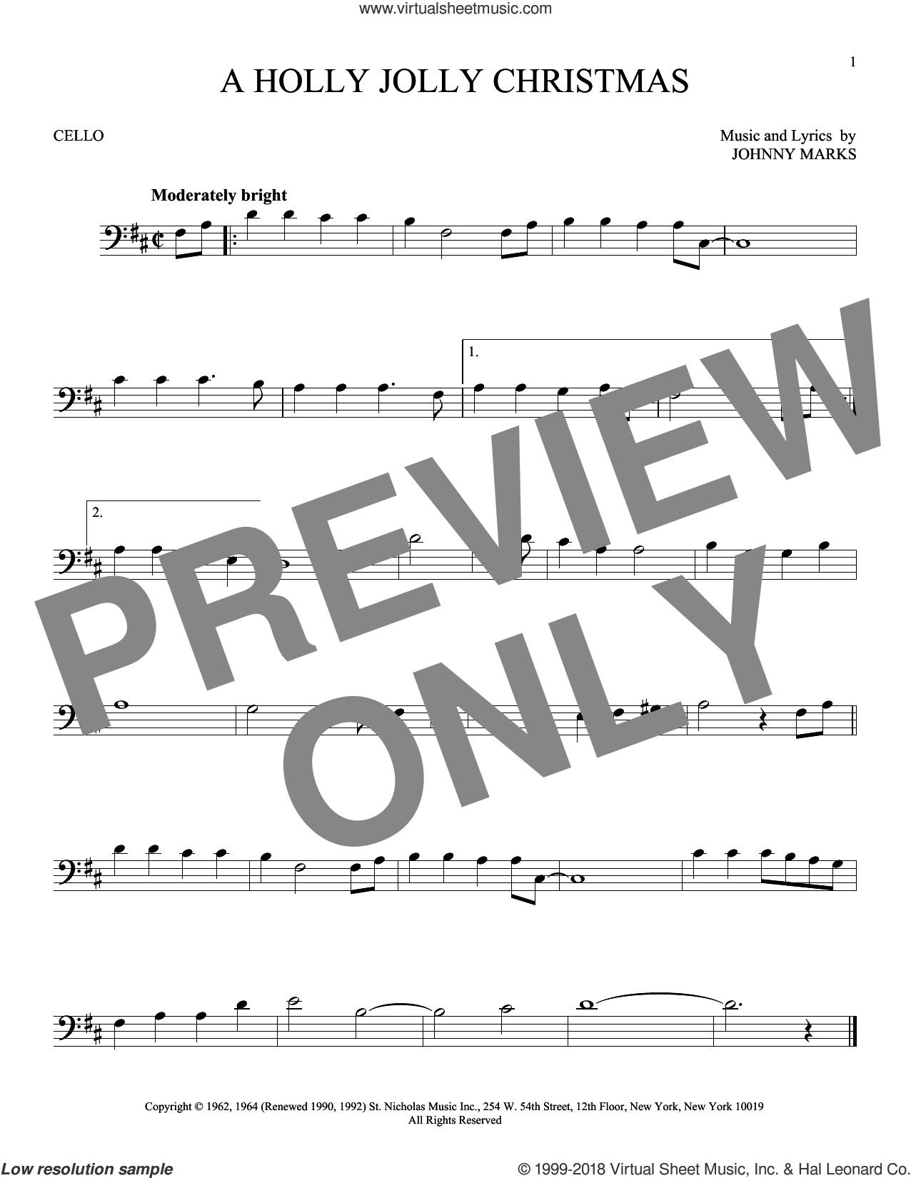 A Holly Jolly Christmas sheet music for cello solo by Johnny Marks, intermediate skill level