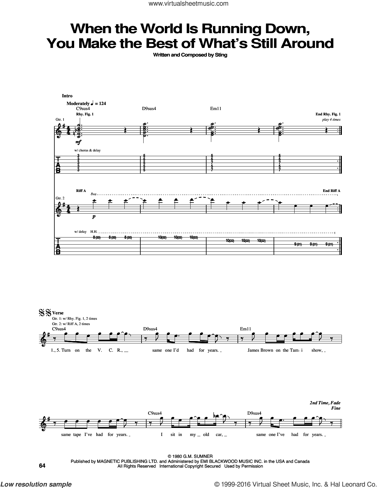 When The World Is Running Down, You Make The Best Of What's Still Around sheet music for guitar (tablature) by The Police and Sting, intermediate