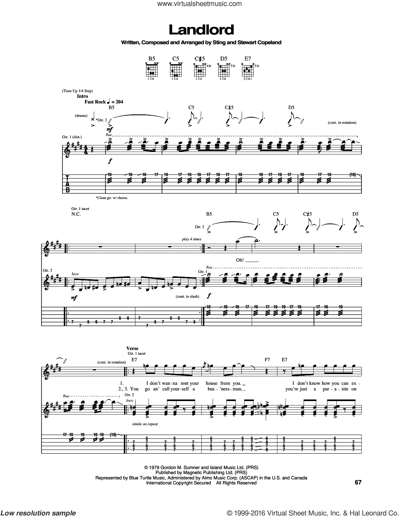 Landlord sheet music for guitar (tablature) by Sting, The Police and Stewart Copeland. Score Image Preview.
