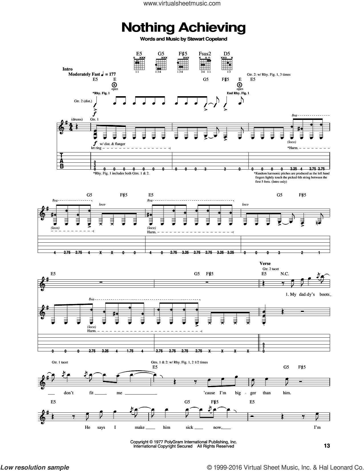 Nothing Achieving sheet music for guitar (tablature) by Stewart Copeland and The Police. Score Image Preview.
