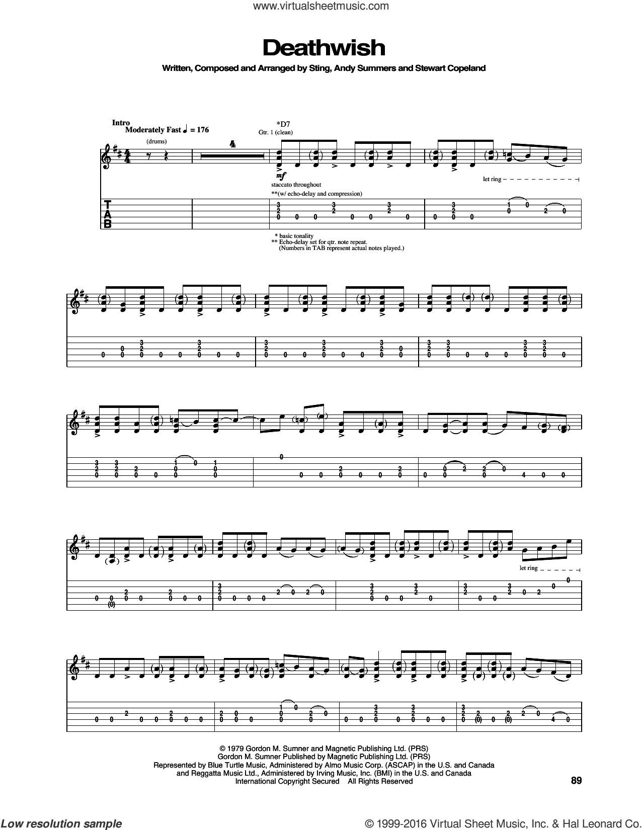 Deathwish sheet music for guitar (tablature) by The Police and Sting, intermediate guitar (tablature). Score Image Preview.