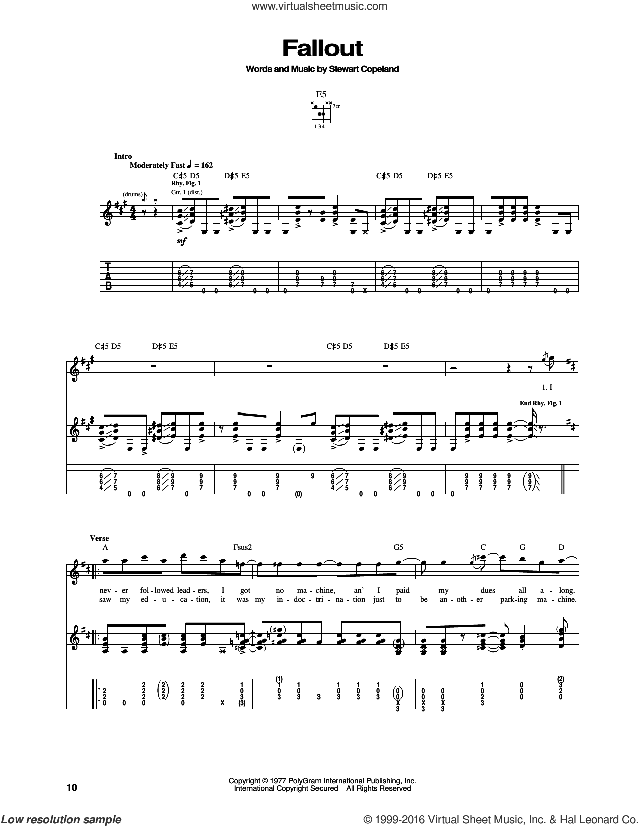 Fallout sheet music for guitar (tablature) by The Police. Score Image Preview.