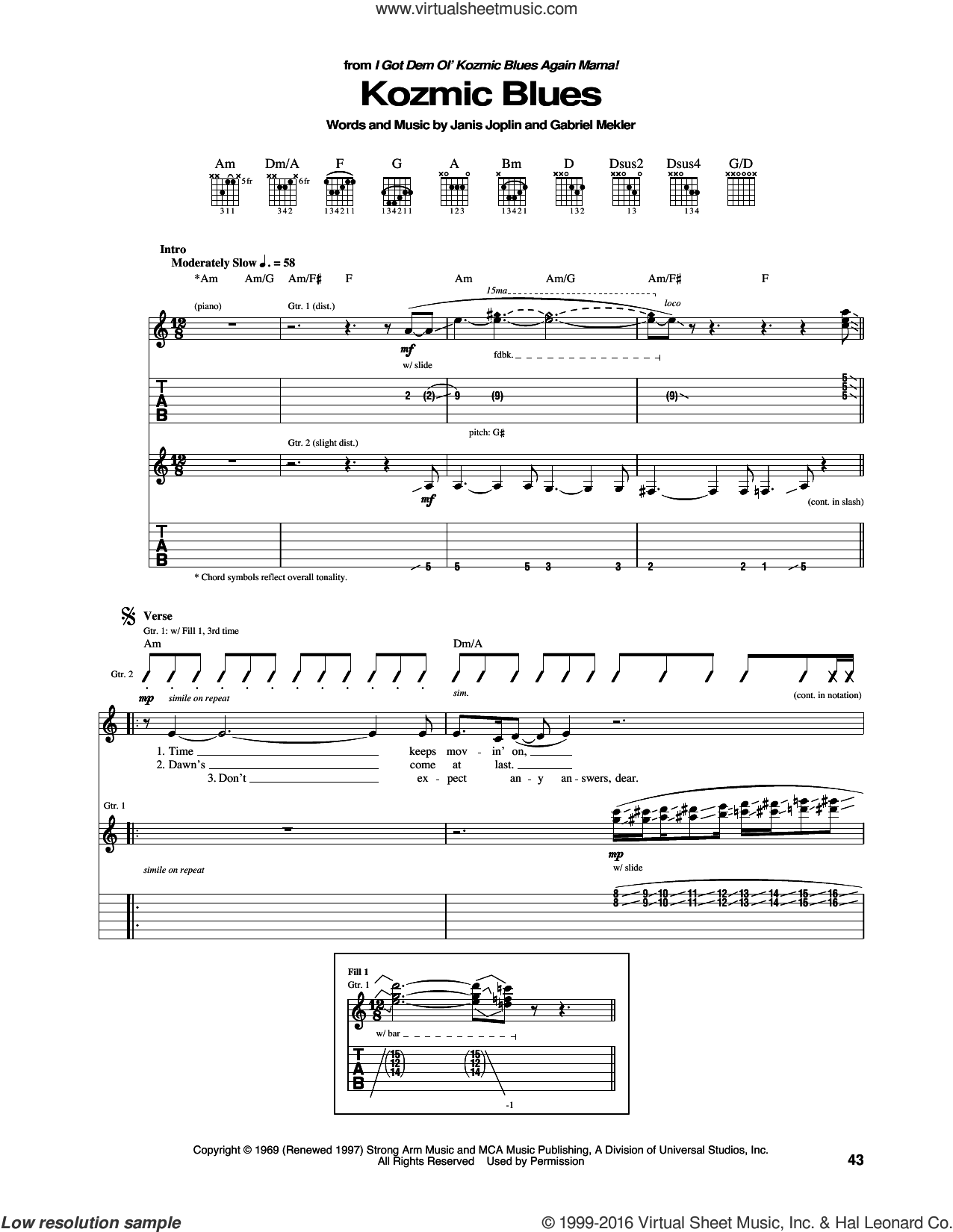 Kozmic Blues sheet music for guitar (tablature) by Janis Joplin. Score Image Preview.
