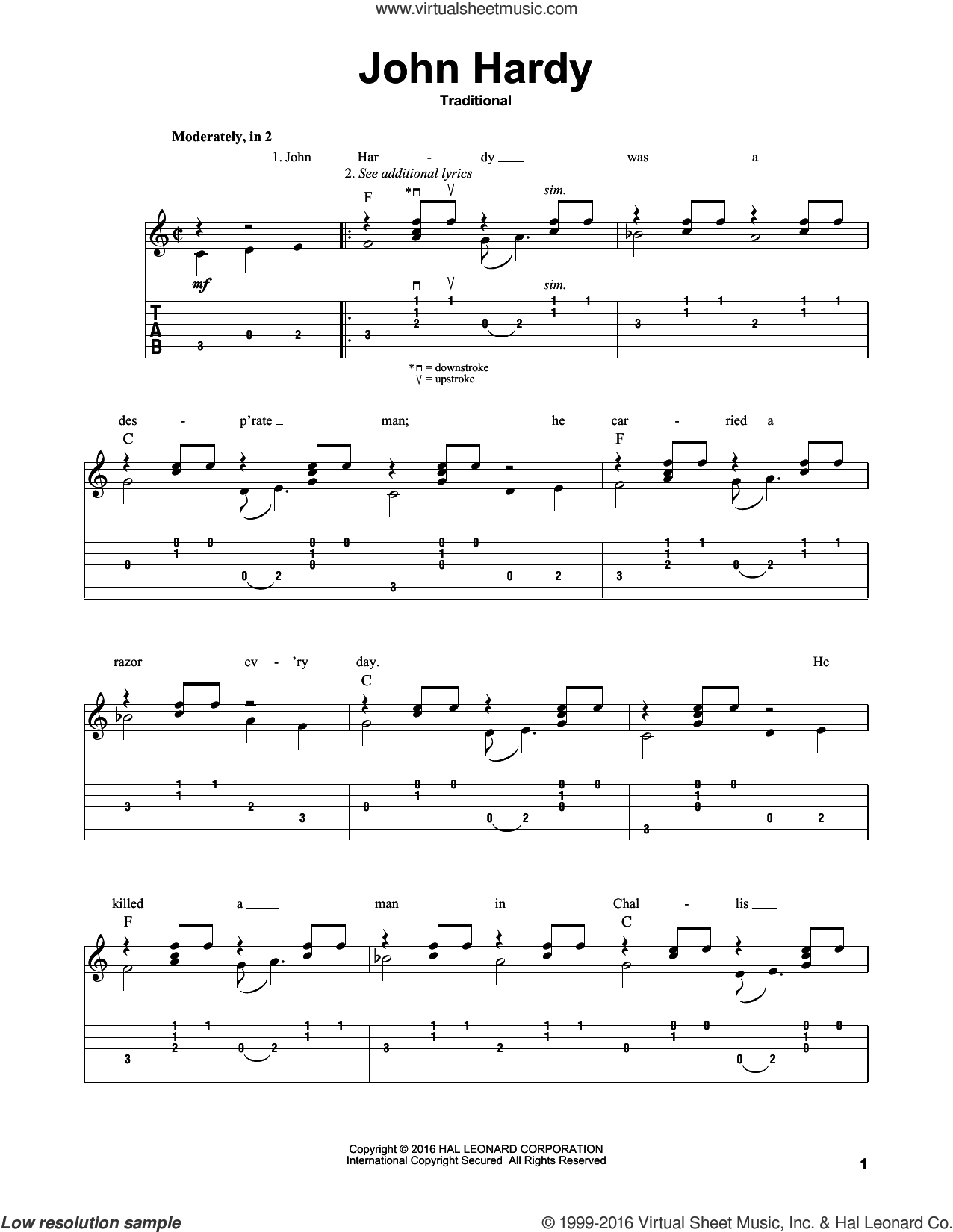 John Hardy sheet music for guitar solo by Mark Phillips. Score Image Preview.