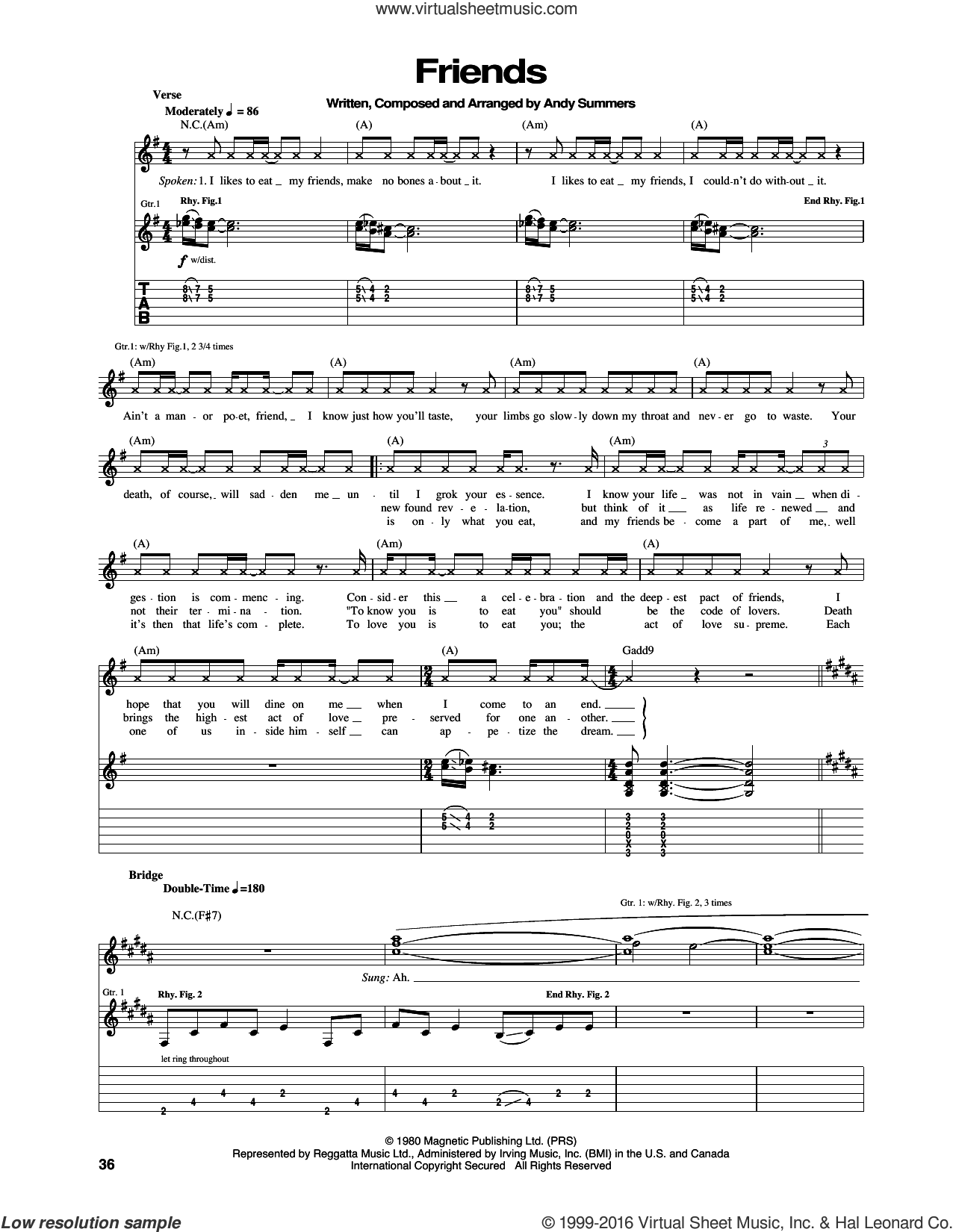 Friends sheet music for guitar (tablature) by Andy Summers and The Police. Score Image Preview.