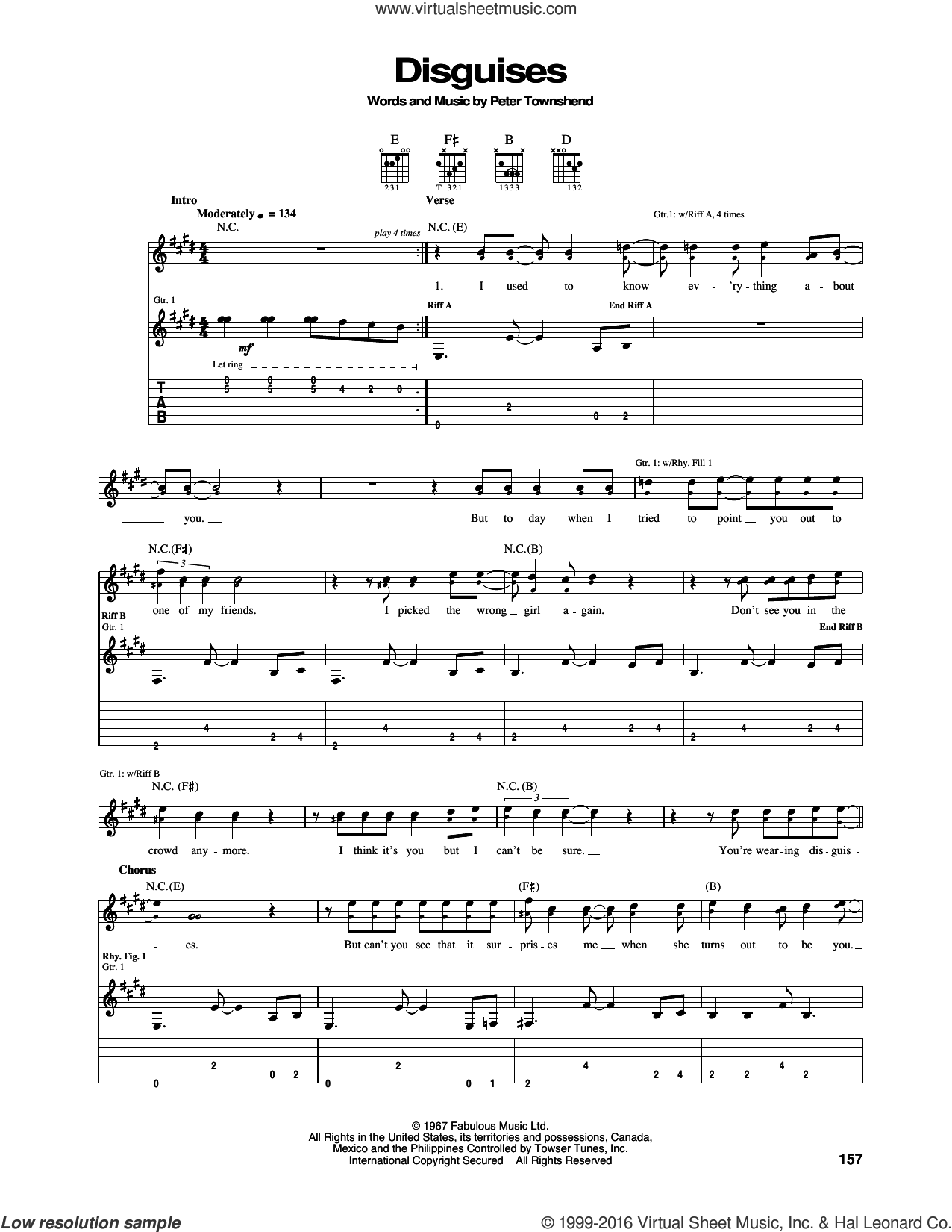 Disguises sheet music for guitar (tablature) by Pete Townshend and The Who. Score Image Preview.
