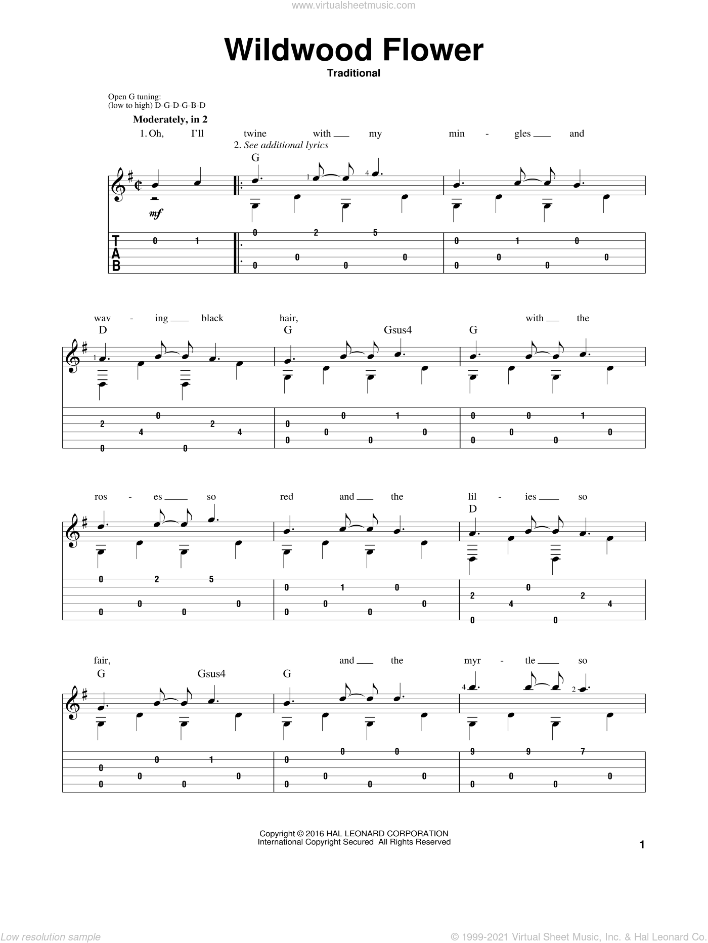 Wildwood Flower sheet music for guitar solo by Mark Phillips. Score Image Preview.