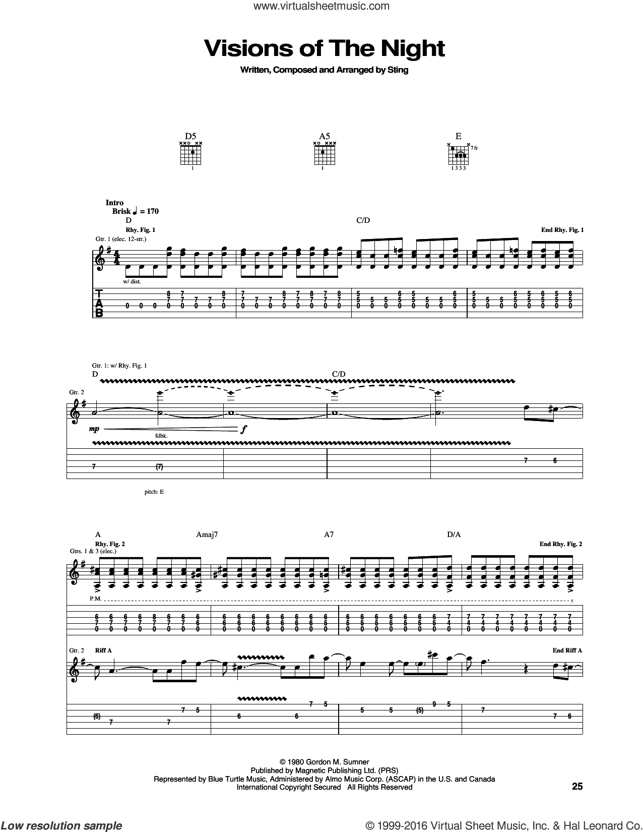 Visions Of The Night sheet music for guitar (tablature) by The Police and Sting, intermediate. Score Image Preview.