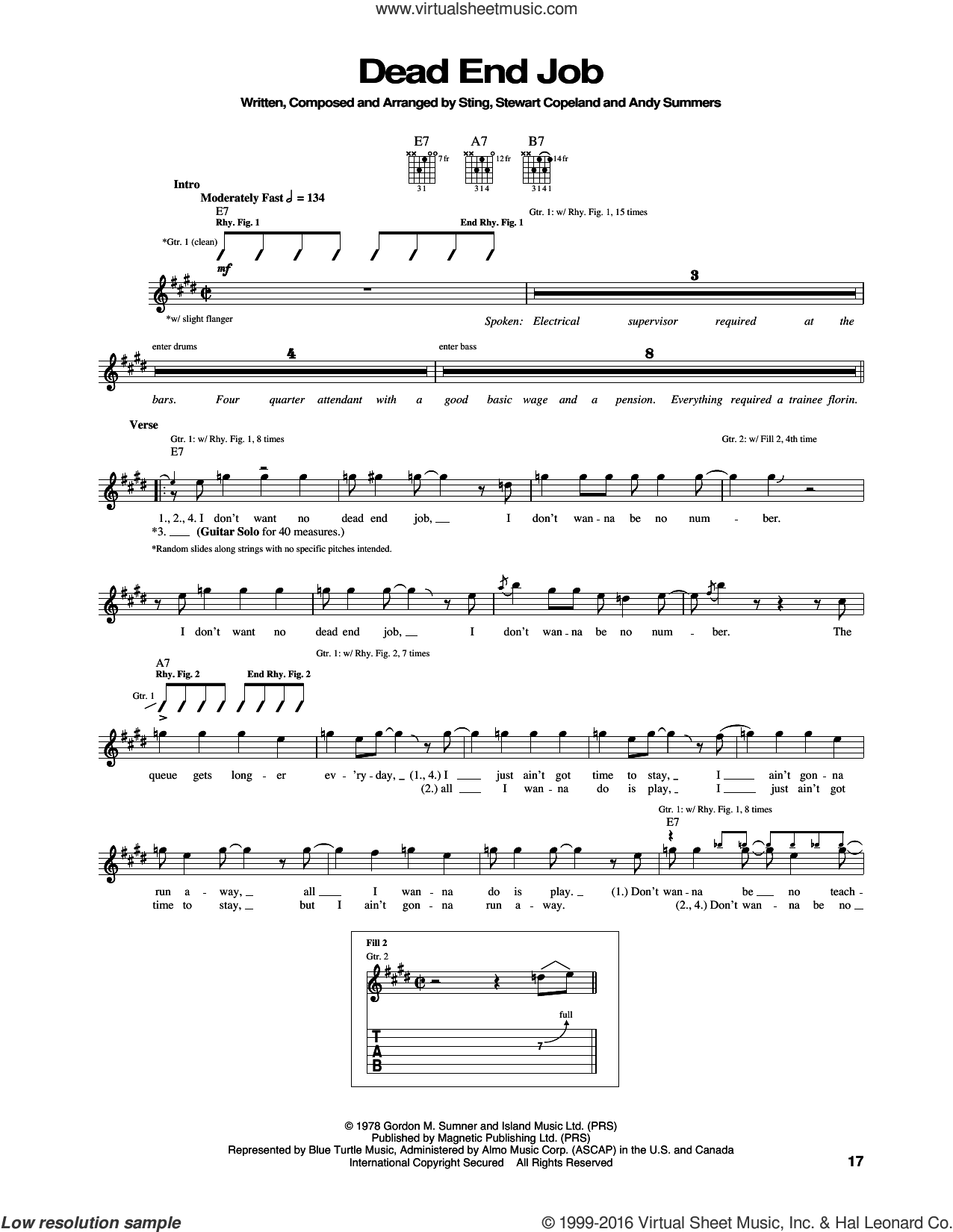 Dead End Job sheet music for guitar (tablature) by Sting, The Police, Andy Summers and Stewart Copeland. Score Image Preview.