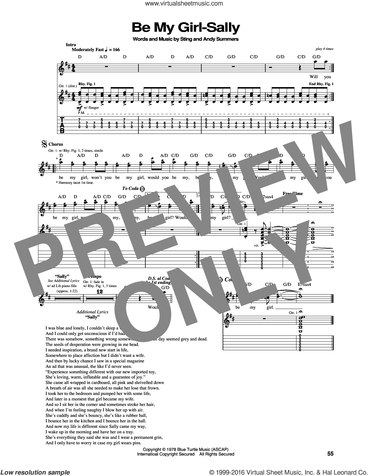 Be My Girl sheet music for guitar (tablature) by The Police, Andy Summers and Sting, intermediate skill level