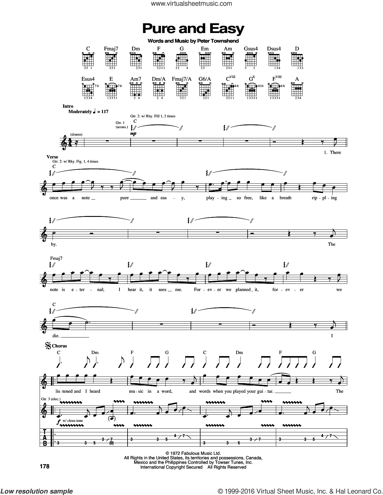 Pure And Easy sheet music for guitar (tablature) by The Who and Pete Townshend, intermediate