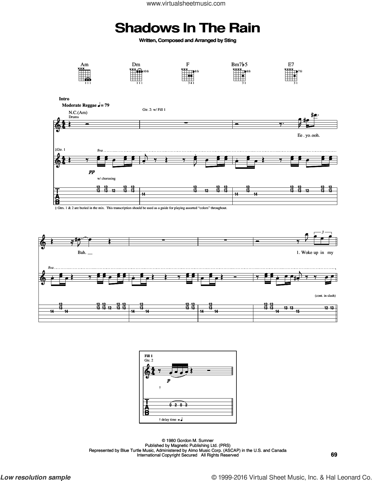 Shadows In The Rain sheet music for guitar (tablature) by The Police and Sting, intermediate. Score Image Preview.