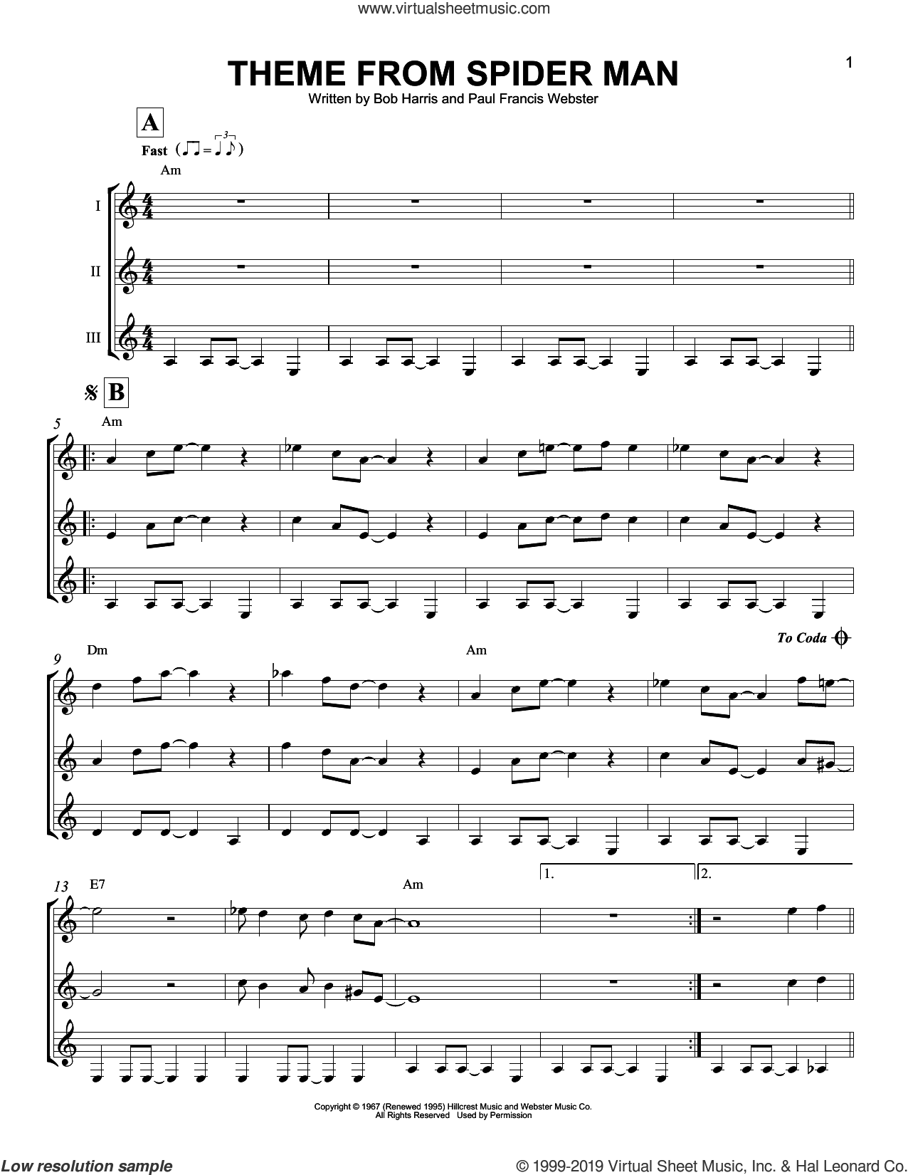 Theme From Spider-Man sheet music for guitar ensemble by Paul Francis Webster, Bob Harris and Bob Harris & Paul Francis Webster, intermediate skill level